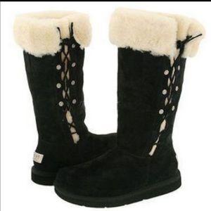 Ugg black boots side tie up 6